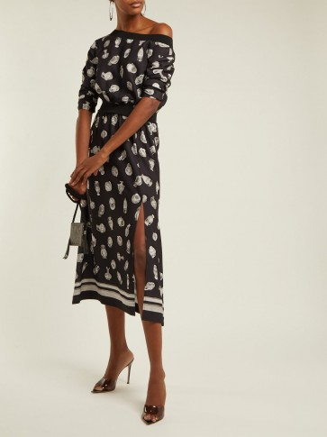 ALTUZARRA Paola vase-print black satin dress