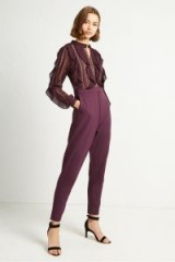 FRENCH CONNECTION PATRICIA LACE JERSEY JUMPSUIT in Black Grape | purple jumpsuits