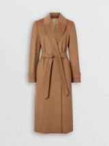 BURBERRY Peak Lapel Cashmere Wrap Coat in Dark Sand ~ classic tie waist coats