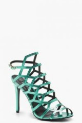 boohoo Peeptoe Cage Sandals in Green | cut-out party heels