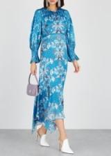 PETER PILOTTO Blue floral print hammered silk dress