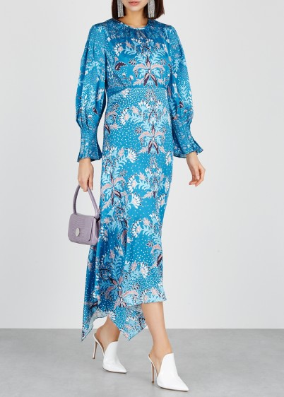 PETER PILOTTO Blue floral print hammered silk dress