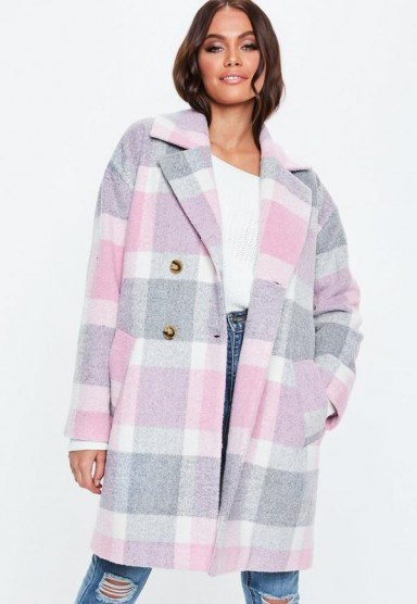 MISSGUIDED petite pink check print cocoon coat – large checks