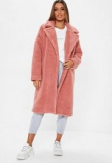 MISSGUIDED petite rose chunky borg teddy coat – pink winter coats