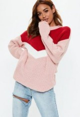 MISSGUIDED pink chevron colourblock jumper – chunky sweaters