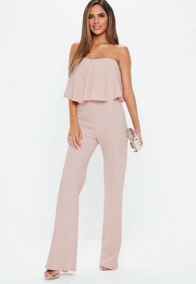 MISSGUIDED pink double layer wide leg jumpsuit – strapless party fashion