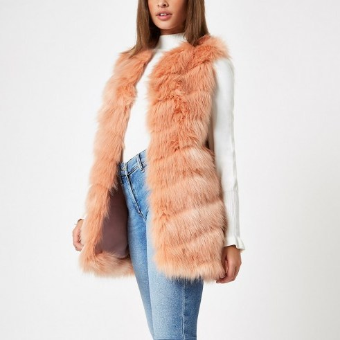 RIVER ISLAND Pink faux fur chevron panelled gilet – luxe style sleeveless winter jacket - flipped