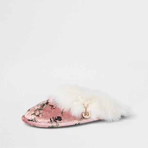 RIVER ISLAND Pink floral print faux fur trim slippers