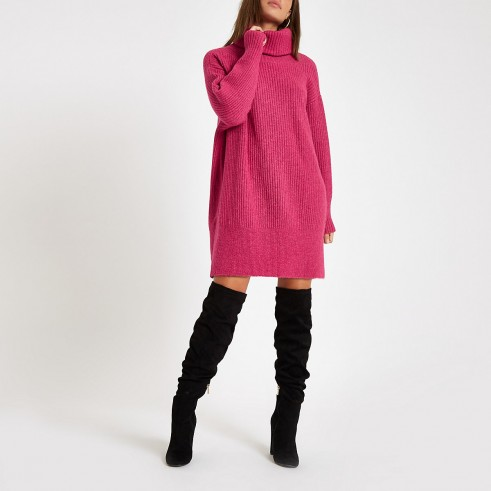 RIVER ISLAND Pink knit roll neck jumper dress – chunky sweater dresses