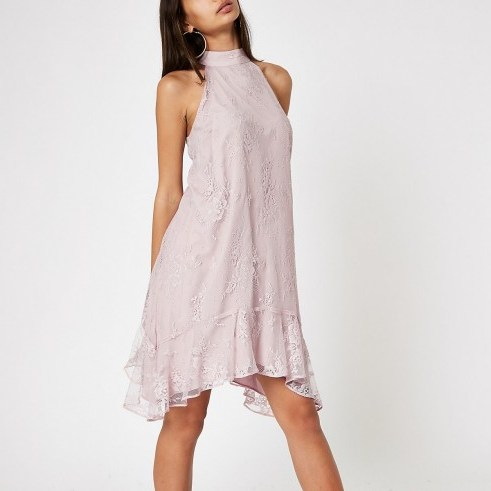 RIVER ISLAND Pink lace frill hem halter neck swing dress – feminine halterneck dresses - flipped