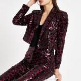 River Island Pink leopard print sequin blazer | glamorous party jackets