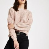 River Island Pink luxe puff sleeve knit jumper