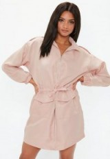 MISSGUIDED pink oversized zip through utility shirt dress