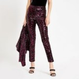River Island Pink sequin leopard print cigarette trousers | sparkly party pants
