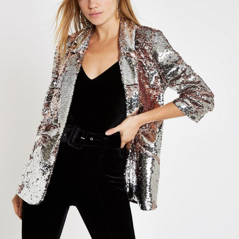 RIVER ISLAND Pink sequin ruched sleeve blazer – shiny going out jackets