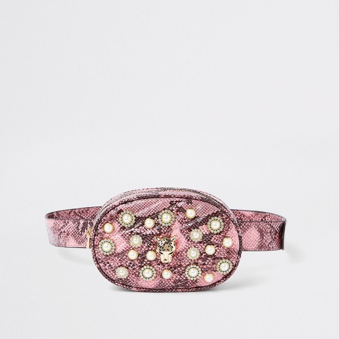 RIVER ISLAND Pink snake print embellished belt bum bag – girly fanny packs