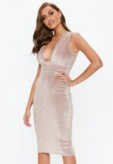 MISSGUIDED pink velvet glitter plunge midi dress – plunging bodycon party dress