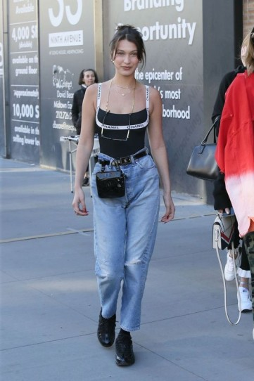 Bella Hadid in light blue denim and Chanel | NYC street style