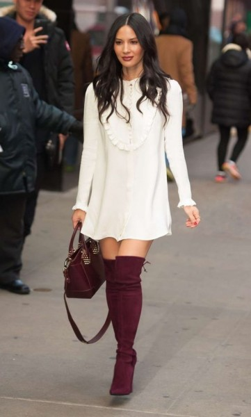 Olivia Munn in purple suede over the knee boots and matching bag