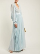 SELF-PORTRAIT Pleated chiffon maxi dress in blue / feminine occasion dresses