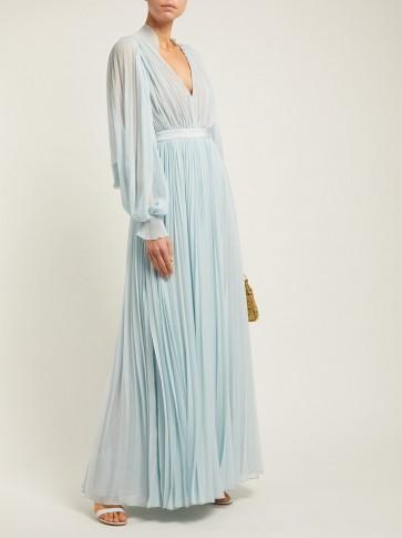 SELF-PORTRAIT Pleated chiffon maxi dress in blue / feminine occasion dresses