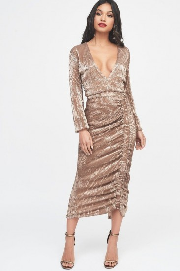 LAVISH ALICE pleated sequin ruched side midi dress in gold – glam plunge front party dress