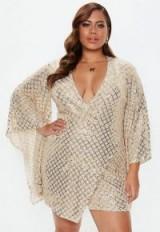 MISSGUIDED plus size gold sequin wrap mini dress – curvy asymmetric style party dresses