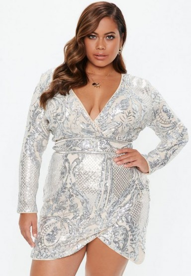 MISSGUIDED plus size silver sequin wrap mini dress – curvy party fashion