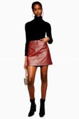 Topshop Popper PU Mini Skirt in Rust   A-line skirts