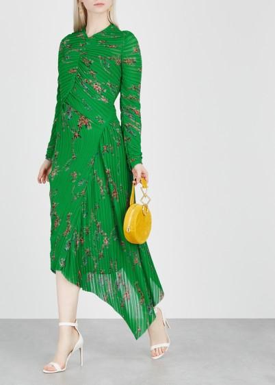 PREEN BY THORNTON BREGAZZI Teresa green printed ruched dress / floral fashion / asymmetric hemline
