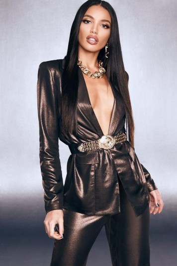 boohoo Premium Foiled Satin Blazer With Shoulder Pads in Black | luxe style party jackets