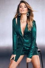 boohoo Premium Foiled Satin Tux Playsuit in Emerald   glamorous green party fashion
