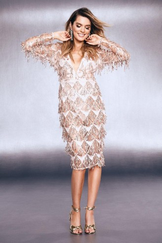 boohoo Premium Fringe Sequin Cut Out Back Midi Dress in Rose Gold | luxe style party dresses
