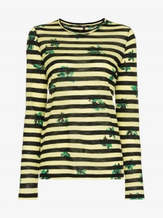 Proenza Schouler Yellow and Black Striped Long Sleeved T-Shirt / floral print tee