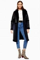 TOPSHOP PU Faux Fur Trim Coat in Black – stylish winter coats