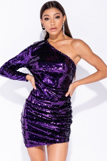 PARISIAN PURPLE SEQUIN ONE SHOULDER ASYMMETRIC BODYCON MINI DRESS | essential party glamour