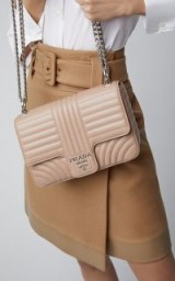 Prada Neutral Quilted Leather Shoulder Bag in Ciprie