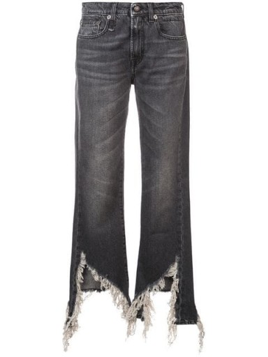 R13 distressed bootcut jeans in Damien Black | frayed cut-out hems