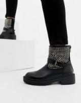 RAID Casper statement studded biker boots in Black pu + suede