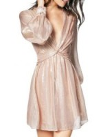 Ramy Brook Elsie Plunging Metallic Short Dress in Blush | plunge front party dresses