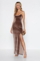 NASTY GAL Ready for My Close Up Velvet Dress in Praline – long strappy maxi – party glamour