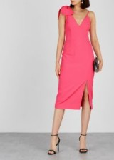 REBECCA VALLANCE Love pink bow-embellished cady midi dress