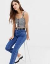 Reclaimed Vintage The '91 mom jean in dark stone wash   slim tapered leg denim jeans