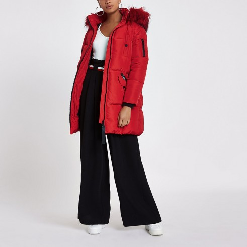 RIVER ISLAND Red faux fur trim longline puffer jacket – warm and snugly bright winter coat