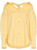 REJINA PYO collared D ring yellow cotton linen blend blouse