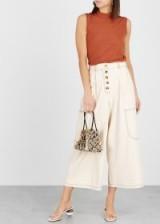 REJINA PYO Lea ecru cropped wide-leg jeans ~ neutral denim culottes