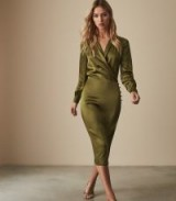 REISS RENAE SATIN WRAP DRESS OLIVE ~ luxe green dresses