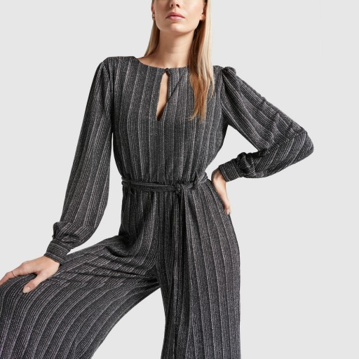 Retrofete SHIRA JUMPSUIT in Black/Silver | chic partywear