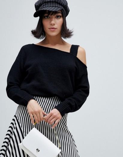 River Island jumper with asymmetric shoulder in black | cold shoulder knitwear