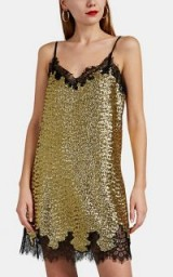 ROBERT RODRIGUEZ Lace-Trimmed Gold Sequined Slip Dress – luxe occasion cami dresses